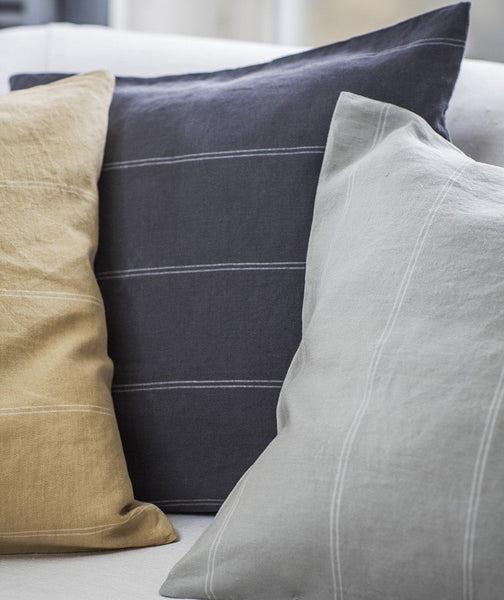 Vintage Grey Linen Cushion Cover Italian Stripe Collection - The Linen Works (263426048010)