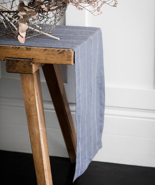 Steel Linen Table Runner Italian Stripe Collection - The Linen Works (217672613898)