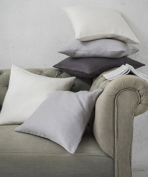 Pale Grey Linen Cushion Cover Motte Collection - The Linen Works