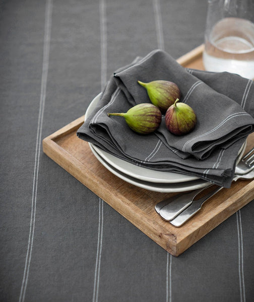 Steel Linen Tablecloth Italian Stripe Collection - The Linen Works