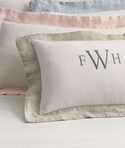 Rose Linen Breakfast Pillow - The Linen Works (2406389219405)