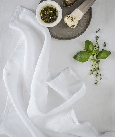 Classic White Linen Tea Towel - The Linen Works (217394675722)