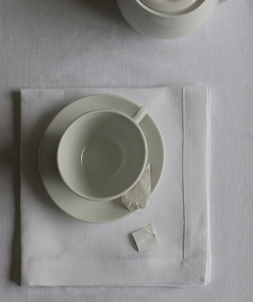 White Linen Tablecloth Mitered Hem Collection