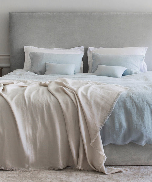 Moustier Duck Egg Linen Flat Sheet - The Linen Works