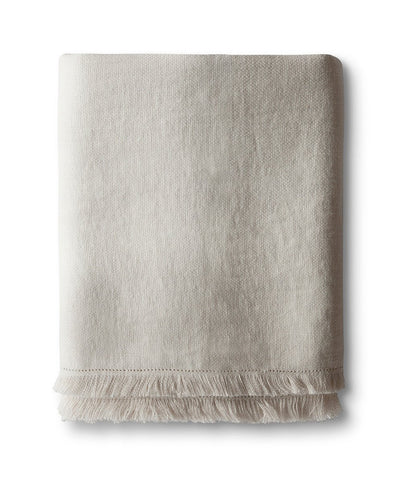 Chalk Fringe Linen Throw - The Linen Works