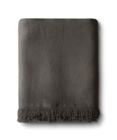 Charcoal Brown Fringe Linen Throw - The Linen Works (4460179226701)