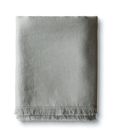 Pale Grey Fringe Linen Throw - The Linen Works