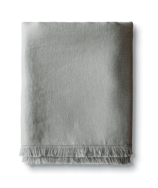Pale Grey Fringe Linen Throw - The Linen Works (247901945866)