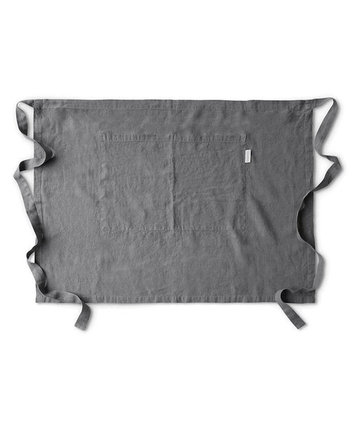 Charcoal Linen Half Apron - The Linen Works (217312886794)
