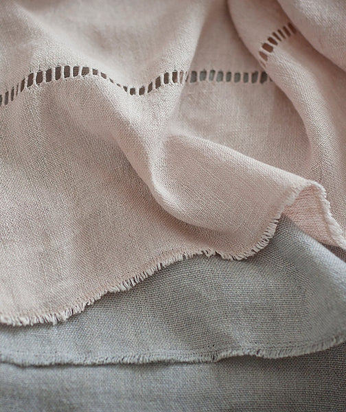 Pale Rose Hand Loom Linen Throw - The Linen Works (249514328074)