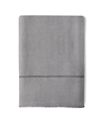Soft Grey Hand Loom Linen Throw - The Linen Works