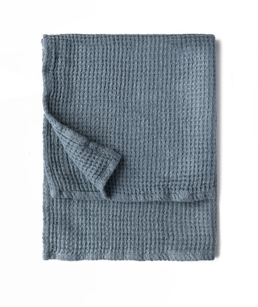Parisian Blue Linen Waffle Hand Towel - The Linen Works (217864863754)