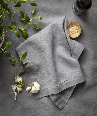 Charcoal Linen Napkin Mitered Hem Collection - The Linen Works