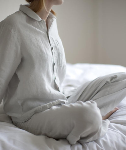 Dove Grey Linen Pyjamas - The Linen Works (217574572042)