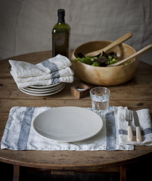 Charcoal Stripe Linen Placemat Arles Collection - The Linen Works