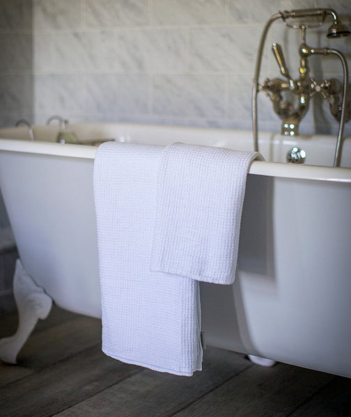 White Linen Waffle Bath Towel - The Linen Works