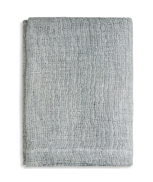 Blue Grey Soft Jacquard Linen Throw - The Linen Works (249614041098)
