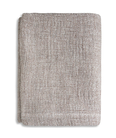 Pale Peach Soft Jacquard Linen Throw