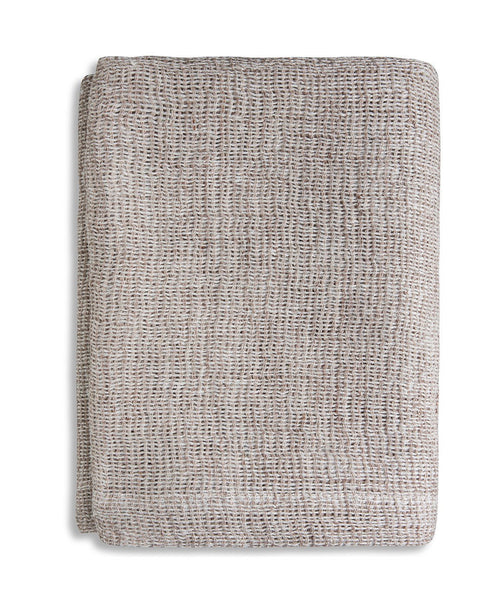 Pale Peach Soft Jacquard Linen Throw - The Linen Works (249566363658)