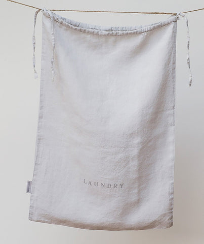 Dove Grey Linen Laundry Bag - The Linen Works