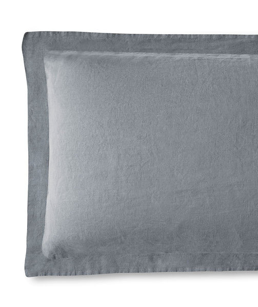 Lens Charcoal Linen Pillowcase Hemstitch Collection - The Linen Works (4461688979533)