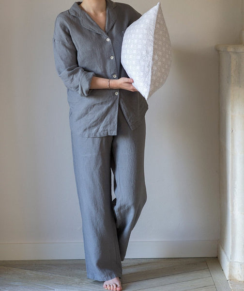 Charcoal Linen Pyjamas - The Linen Works (217582534666)