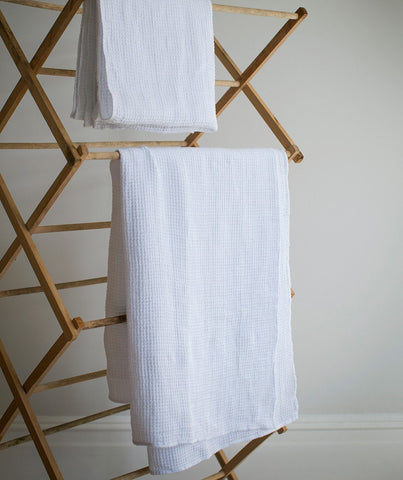 White Linen Waffle Hand Towel - The Linen Works