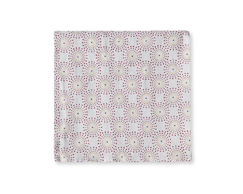 Burgundy Mustard Linen Napkins Dot Print - The Linen Works (4461784498253)