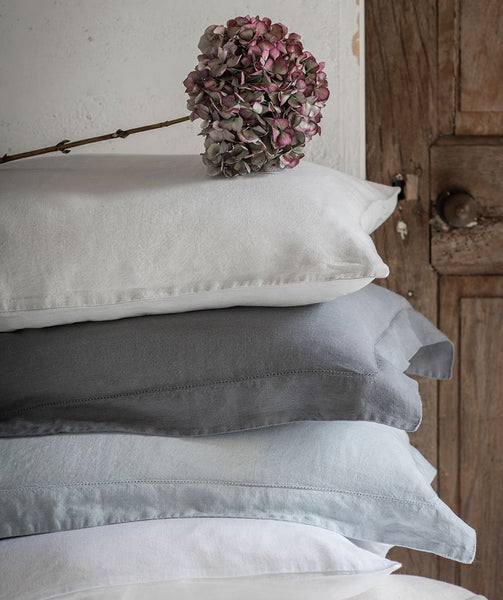 Lens Charcoal Linen Pillowcase Hemstitch Collection - The Linen Works (4461697040461)