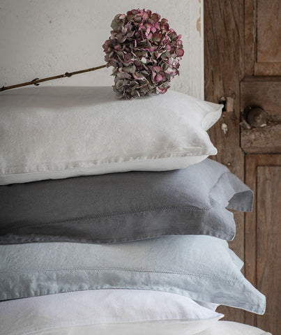 Lens Charcoal Linen Pillowcase Hemstitch Collection - The Linen Works (4461752614989)