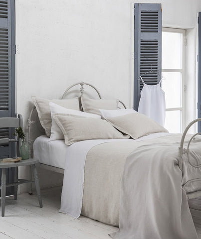 Picardie Ecru Linen Duvet Cover - The Linen Works