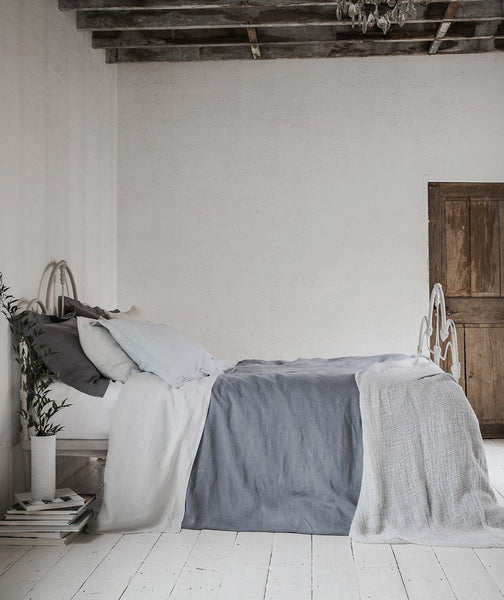 Lens Charcoal Linen Duvet Cover - The Linen Works