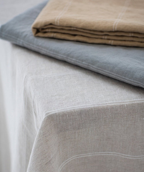 Natural Linen Tablecloth Italian Stripe Collection - The Linen Works (4458758963277)