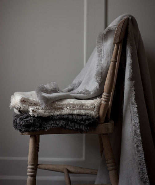 Chalk Fringe Linen Throw - The Linen Works (247928684554)
