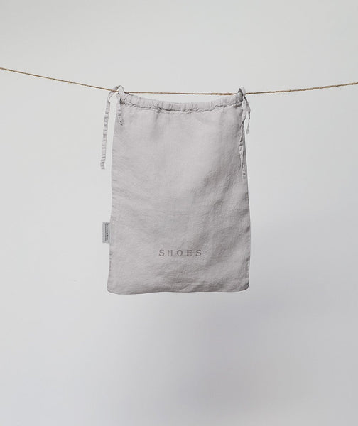 Dove Grey Linen Shoe Bag - The Linen Works (217894191114)
