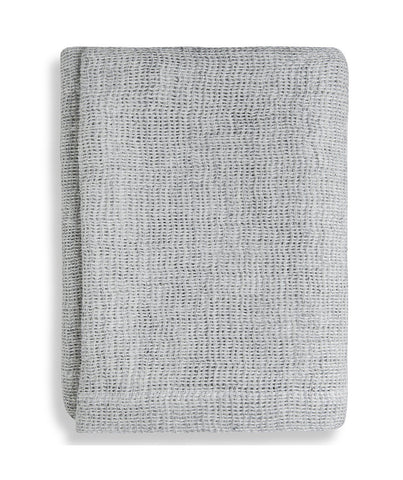 Silver Soft Jacquard Linen Throw - The Linen Works