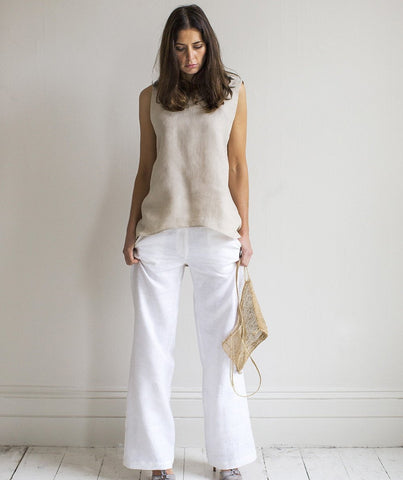 White Linen Wide Leg Trousers - The Linen Works (239190573066)