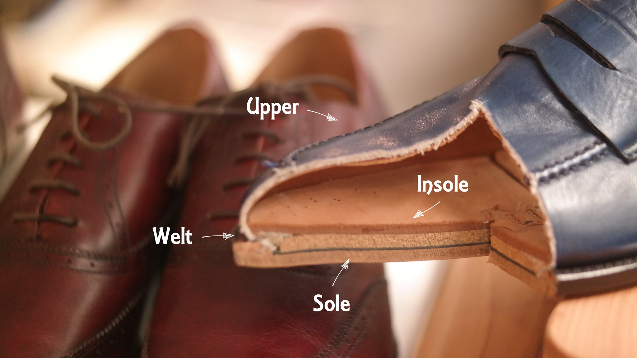 namidori assemble components of leather shoes