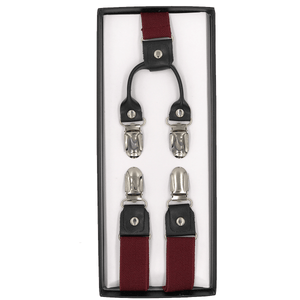 4 Prong Clip-On Suspenders - (Bright Red)
