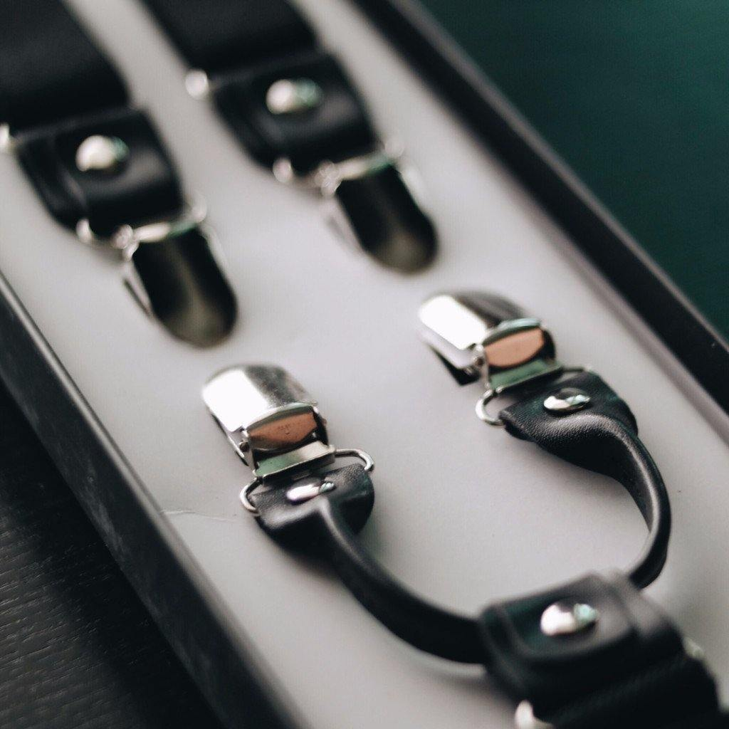 4 Prong Clip-On Suspenders - (Black)