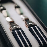 4 Prong Clip-On Suspenders-(White Stripe)