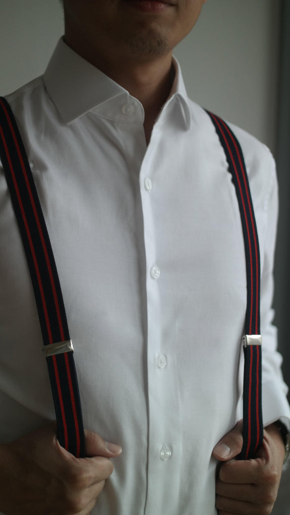 4 Prong Clip-On Suspenders - (Red Stripes)