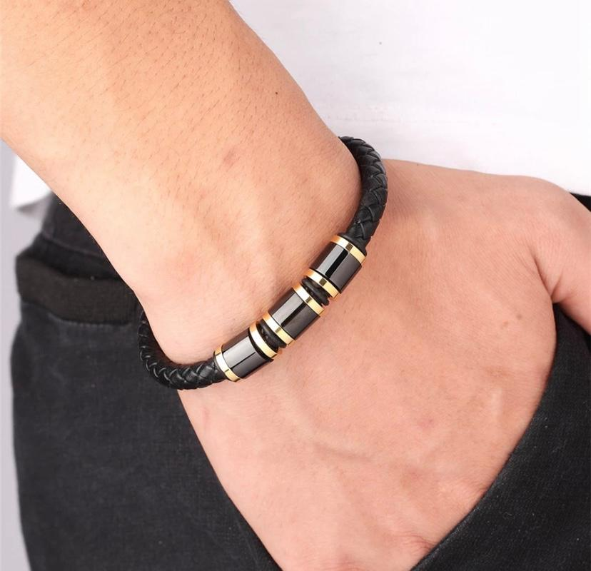Triplet Black Gold Steel Genuine Leather Bracelet with Black Alloy Buckle (JBJ-20190002-LTRBLK - 19cm)