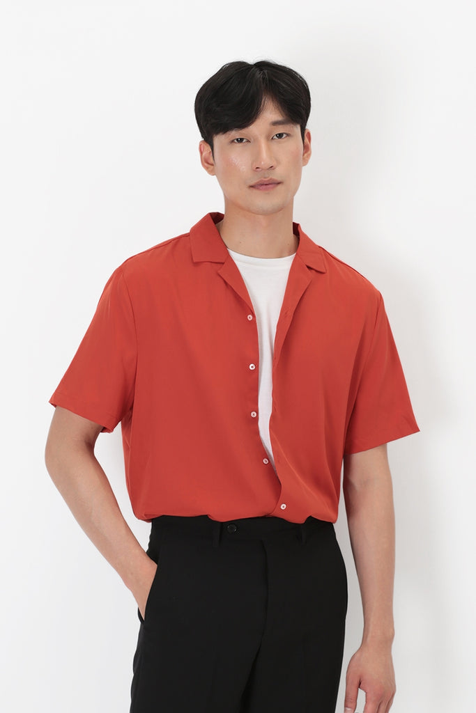 Freddie Camp Collar Shirt in Rust (AFA SR063)