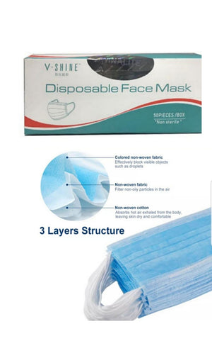 Disposable Face Mask ~3 layers Blue colour 50 pieces pack