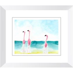Flamingos Trio 2 Watercolor Framed Print by Suzanne Anderson