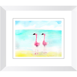Flamingos Duo Watercolor Framed Print by Suzanne Anderson