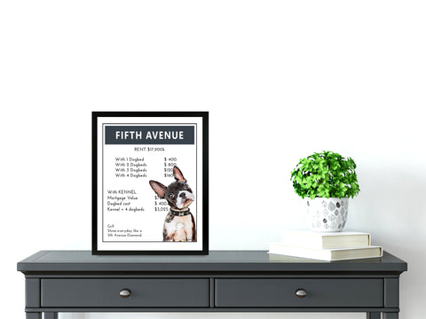Boston Terrier | Monopoly Art | Girls Room Decor | 5th Ave NYC | Art Print By Suzanne Anderson