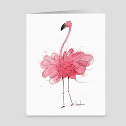 Poofy Flamingo Folded Cards by Suzanne Anderson