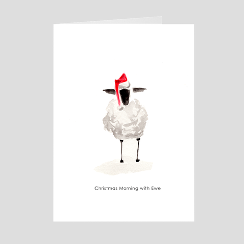 Christmas Morning with the Sheep Holiday Greeting Card by Suzanne Anderson